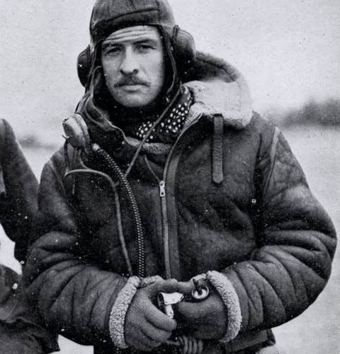 "Pilot in his Irvin ""Bomber"" jacket"