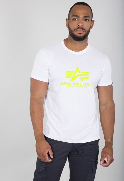 Flying A Basic Tee - White Neon Yellow