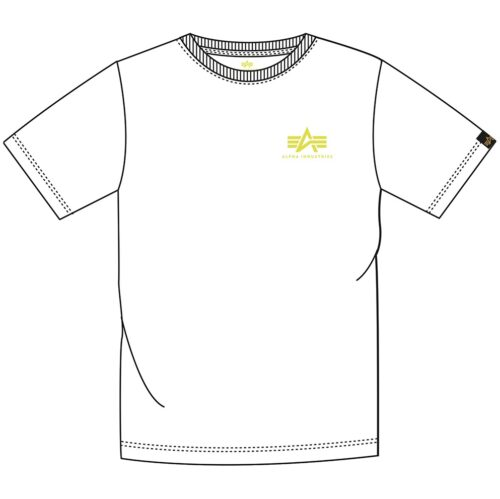 Basic Tee Small A - White / Neon Yellow